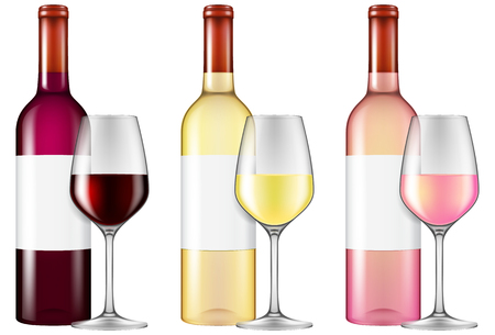 Wine bottles and glasses - red, white and rose wine. Vector illustration with smart transparencies - will work against any background. Standard-Bild - 98099908