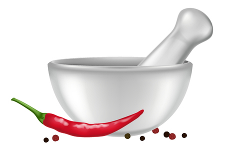 Porcelain mortar and pestle with red chili pepper and peppercorns. Vector illustration. Çizim