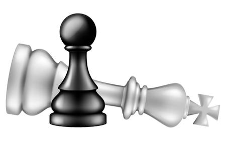 Peón toma Rey sobre fondo blanco, ilustración vectorial. Ilustración de vector