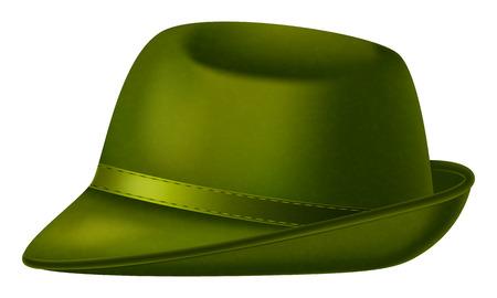 Green Fedora hat on white background.. Vector illustration.