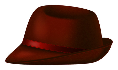 Red Fedora hat on white background.. Vector illustration.