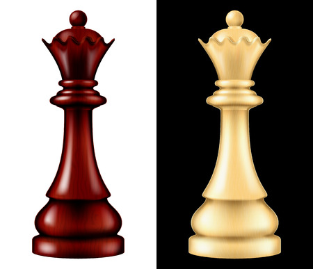 Wooden chess piece Queen, two versions - white and black. Vector illustration. 일러스트