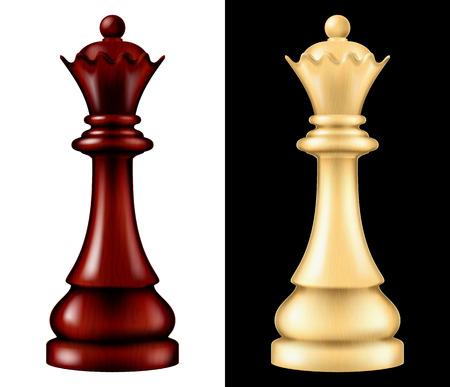 Houten schaakstuk Queen, twee versies - wit en zwart. Vector illustratie Vector Illustratie
