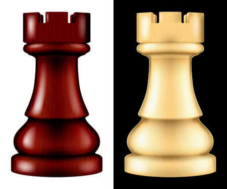 Wooden chess piece Rook, two versions - white and black. Vector illustration.