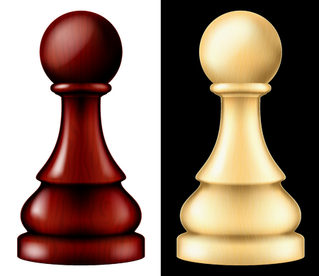 Wooden chess piece pawn, two versions, white and black vector illustration.