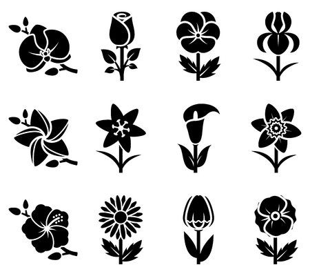 Stylized flowers icon set. Vector illustration. Ilustrace