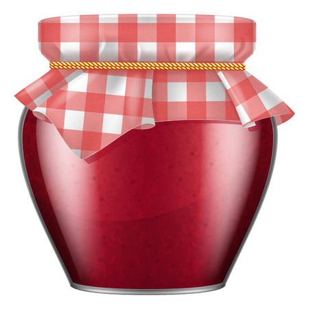 Jar of homemade jam with fabric cover. Vector illustration. 일러스트