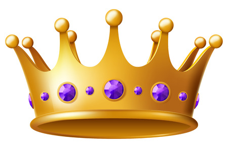 Golden crown with purple gems. Vector illustration.