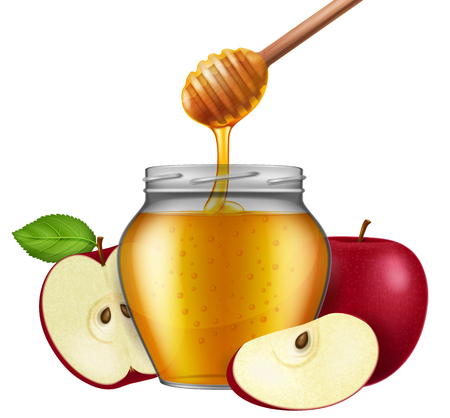 Jar of honey with a wooden dipper and apple. Traditional celebration food for the Jewish New Year, Rosh Hashana. Vector illustration. Illustration