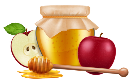 Jar of honey with a wooden dipper and apple. Traditional celebration food for the Jewish New Year, Rosh Hashana. Vector illustration. Stock Illustratie