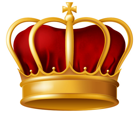 Golden imperial crown with red miter vector illustration.
