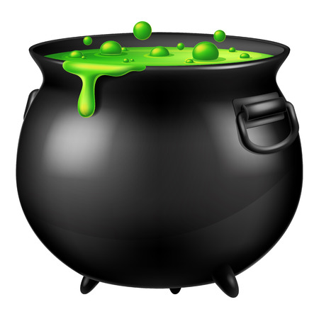 Halloween witch cauldron with bubbling green vector illustration.