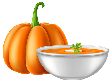 Pumpkin soup vector illustration.