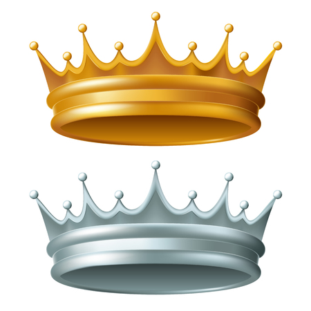 Crown, two versions - gold and silver. Vector illustration.