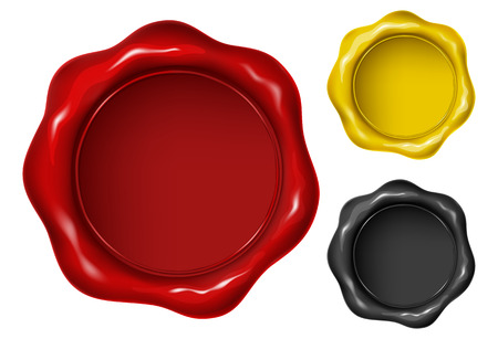 Wax seal in three versions - red, yellow and black. Vector illustration. Illustration