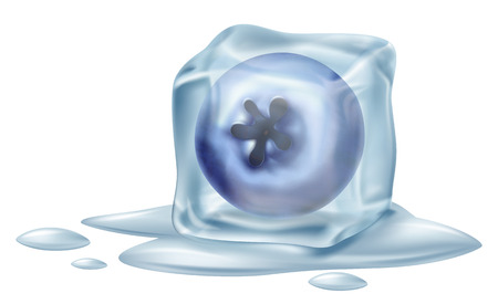 Ice cube with a blueberry illustration isolated on white