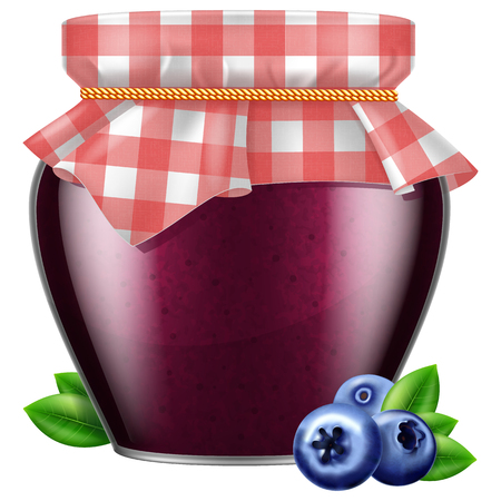 Jar of blueberry jam with fabric cover illustration isolated on white