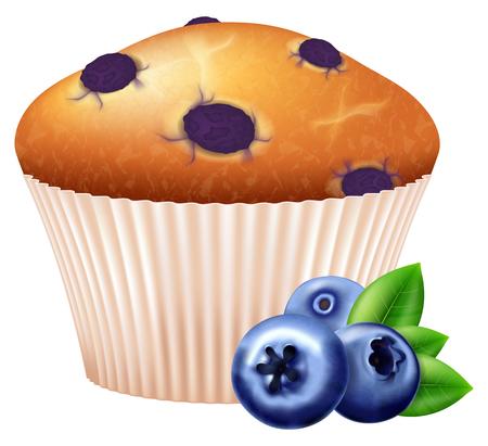 Cupcake met rijpe bosbessen. Vector illustratie.