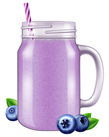 Blueberry juice  smoothie in a mason jar mug. Illustration