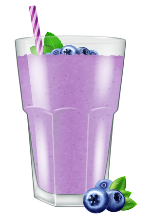 Blueberry juice / smoothie. Vector illustration.