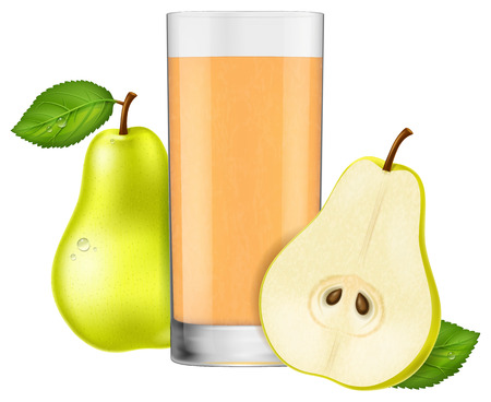 A glass of pear juice illustration isolated on white