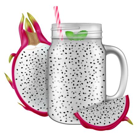 Dragon fruit juice  smoothie in a mason jar mug.