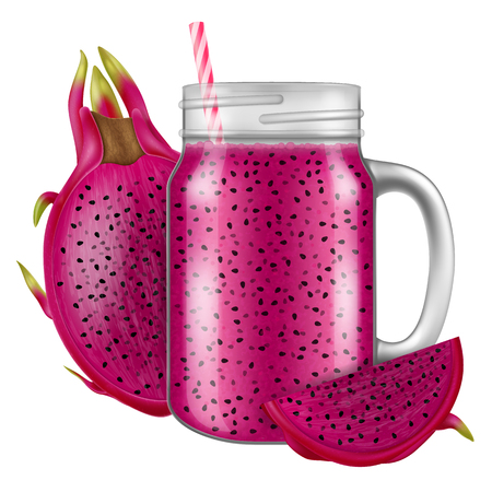 Red dragon fruit juice  smoothie in a mason jar mug. Vector illustration.