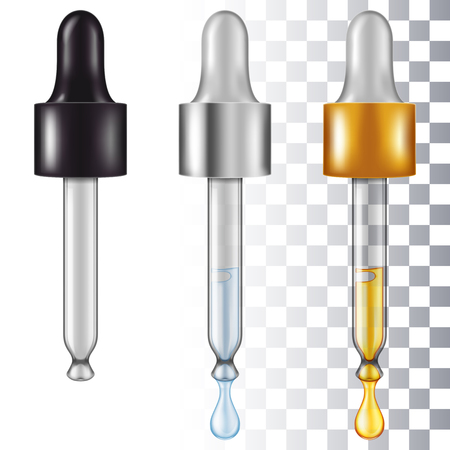 Set of eye droppers. Vector illustration with smart transparencies.