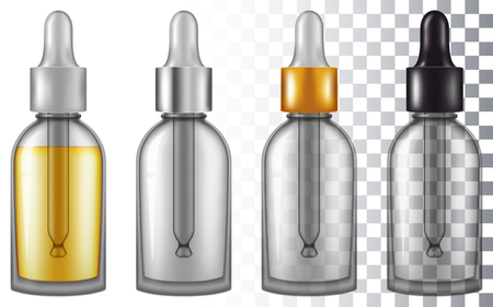 Essential oil flask with pipe eye dropper. Vector illustration with smart transparencies.