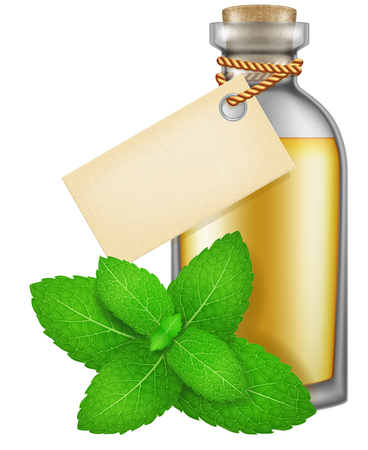 Flask of Peppermint oil with label. Illustration