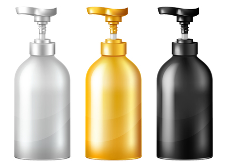 Cosmetic bottle with dispenser pump.