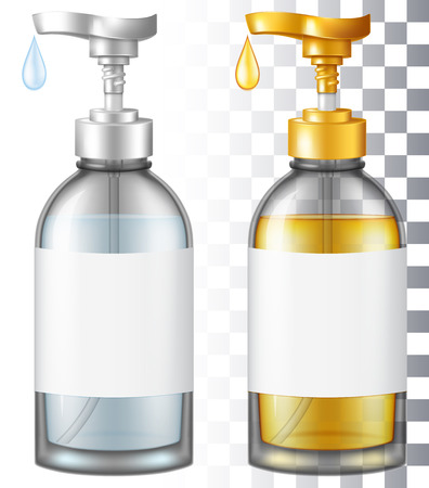 Cosmetic glass bottle with a pump. Vector illustration with smart transparencies. Illustration