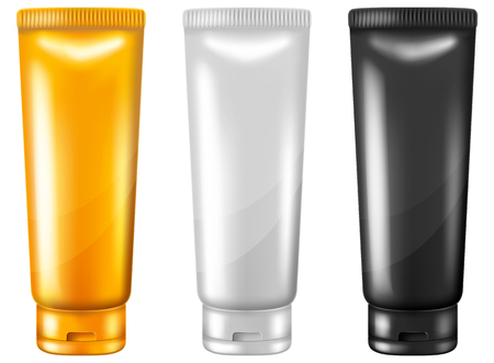 Set of blank plastic cosmetic cream tubes. Illustration