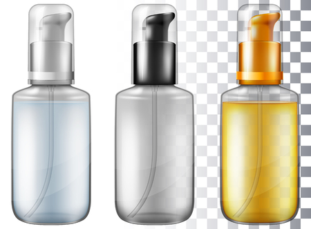 Cosmetic bottle with dispenser pump. Vector illustration with smart transparencies.