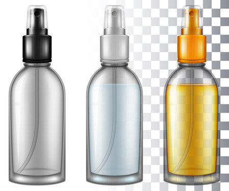 Set of cosmetic spray bottles. Vector illustration with smart transparencies.