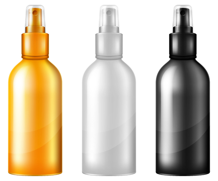 Set of cosmetic spray bottles.