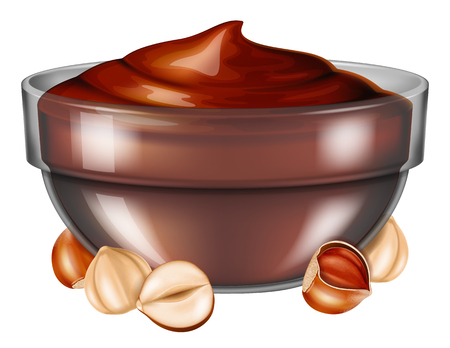 Hazelnut chocolate spread in glass bowl with nuts. Vector illustration. Stock Illustratie