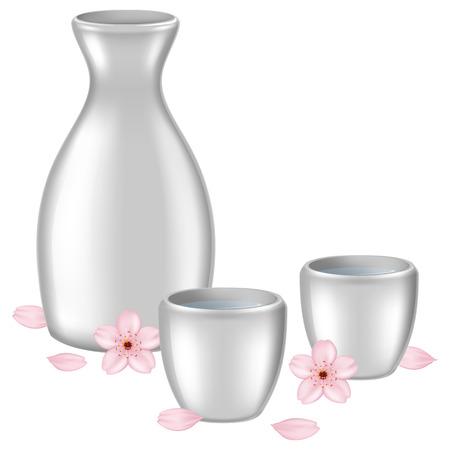A bottle of Japanese sake with sakura flower and petals. Vector illustration.