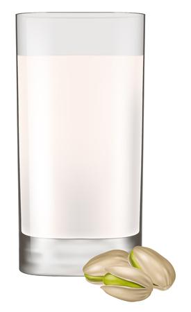 Glass of pistachio milk. Vector illustration. Illustration
