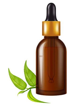Flask of tea tree oil. Vector illustration.