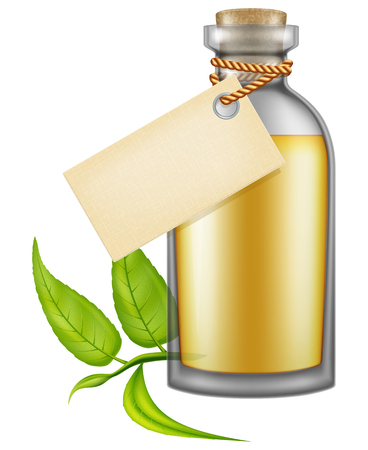 Flask of tea tree oil with label. Vector illustration.