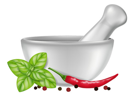 Porcelain mortar and pestle with oregano, red chili pepper and peppercorns. Vector illustration. Illustration
