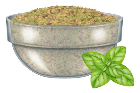 Glass bowl with dry oregano leaves and fresh oregano. Vector illustration. Vettoriali