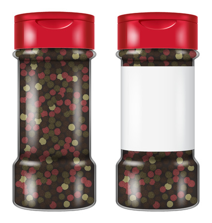 Bottle of peppercorns in two versions: with and without a blank label. Vector illustration. Ilustração