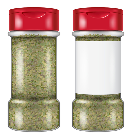 Bottle of dry oregano leaves in two versions: with and without a blank label. Vector illustration.