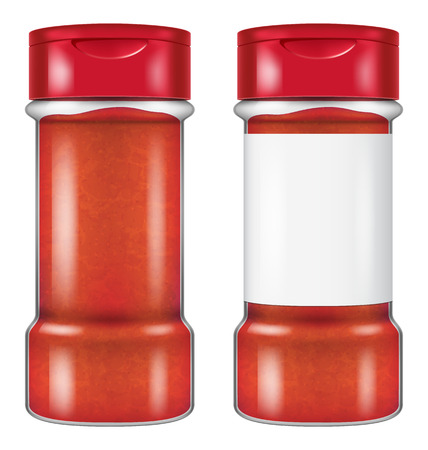 Bottle of chili powder in two versions: with and without a blank label. Vector illustration.