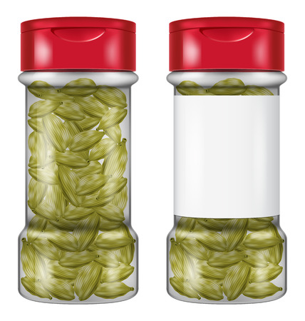 Bottle of cardamom in two versions. Vector illustration.