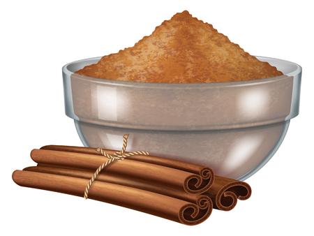 Glass bowl with cinnamon powder and cinnamon sticks. Vector illustration.