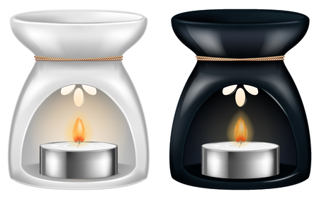 Aroma lamp in two versions: white and black. Vector illustration.