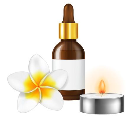 Aromatherapy illustration with a frangipani flower, a bottle of essential oil and a candle. Vector illustration. Illustration